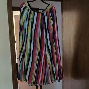 NY& Company Multi Color Stripe Maxi Skirt w/ Slit